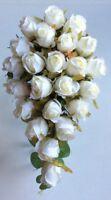 New Bridesmaid Brides Ivory Silk Rose Teardrop Flower Wedding Hand-tied Bouquet