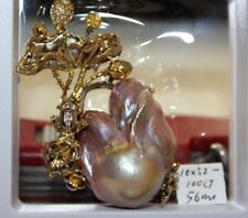 Boutique 56mm  JAPANESE KASUMI PEARL BROOCHES OR PENDANT STERLING SILVER