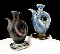 "STUDIO ART POTTERY 2 PIECE WHIMSICAL PINCHED HANDLE MINI 5"" EWER PITCHERS"