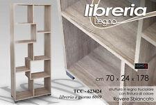Libreria Legno Colore Rovere Cm 70x24x178h Arredo Design 8 Scomparti TCC