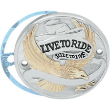 """Chrome & Gold """"Live To Ride"""" Points Cover For Harley-Davidson Big Twin 1970-99"""
