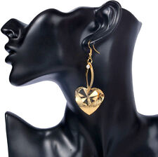 Long Earrings Gold Crystal Drop Heart Party Dangle Statement Metal Large Light