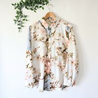 Chico's Collared Button Front Long Sleeve Floral Print Blouse Size 2 Pink Blue
