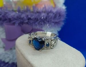 Beautiful Angel Wings Heart Ring 925 Sterling Silver Blue Sapphire New 7-9-10