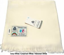 Pure Natural Marino Wool EXTRA LARGE SIZE Shawl Lohi Wrap SS Ivory White