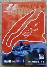 FRENCH GRAND PRIX FORMULA ONE F1 1998 MAGNY COURS Official Programme