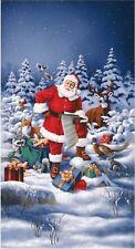 2.6 Yards Cotton Fabric - RJR Good Tidings Santa's List Winter Scenic Panel