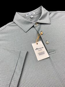 Peter Millar Crown Sport Summer Comfort Geometric Stripe Polo Shirt Gray Medium