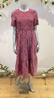 Influence Smock Dress Size 10,12 & 18 Pink Floral Shirred Midi Tiered Dress GL30