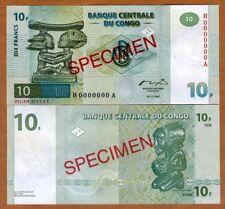 SPECIMEN, Congo D.R. 10 Francs, 1997, P-87As, UNC