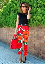 ZARA ORANGE FLORAL PRINT TROUSERS PANTS SIZES XS & M AMAZING