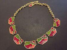 Mint Mod or Art Deco Vintage Signed Vendome Multicolor Enamel Abstract Necklace