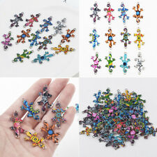 10Pcs Mixed Color Enamel Gecko Connector Charms Pendant DIY Jewelry Making Craft