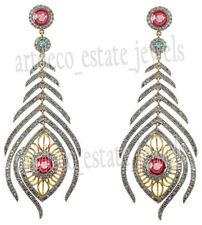 Ruby Victorian Look Silver Dangler Earring 7.15ct Rose Cut Round Diamond Emerald