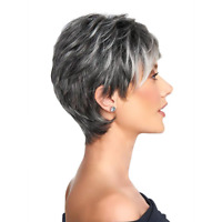 Ombre Short Silver Gray Wigs For Women Perruque Short Wavy Wigs with bangs