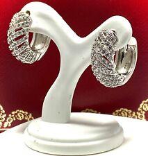 .925 Sterling Silver  2.00ct Diamonique Diamond Huggie Hoop Earring