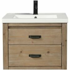 "Ari Kitchen & Bath Kane 24"" Floating Solid Wood Bathroom Vanity in Weathered Fir"