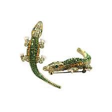 vintage style Mens Punk Alligator Crocodile Crystal Brooch Pin Halloween Party