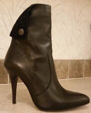 Italian Toscanella Black Leather Stiletto Heel Ankle Boots Size 38 / 7 or 6.5