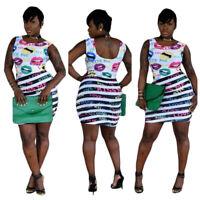 Women Lips Letter Printed Scoop Neck Sleeveless Stripes Bodycon Club Mini Dress