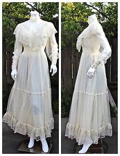 Vntg Cream Tulle Embroidered Lace Party Evening Wedding Dress Valances Size S