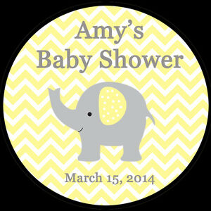 """30 Personalized Round Stickers - Yellow Elephant Baby Shower  - 1.5"""" Inches"""