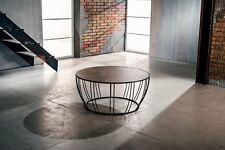 Tavolino da Salotto ceramica + vetro marrone struttura in metallo marrone