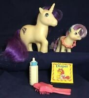 Vintage My Little Pony Glory 1983 and Baby 1984 Unicorns G1 w/ Accessories Lot