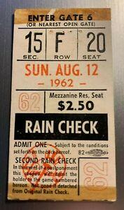 Aug 12, 1962 New York Yankees & Detroit Tigers Ticket Stub 2-0 Yanks