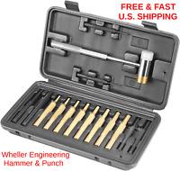 HAMMER & PUNCH Brass Steel Nylon Non-Destructive Hammer Wheeler 16 PIECE KIT