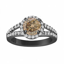 1.84 Carat Fancy Brown Champagne Diamond Engagement Ring 14k Black Gold Halo