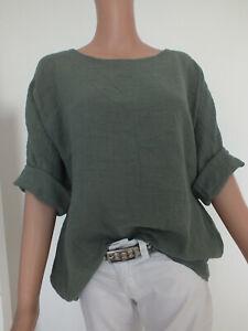 NEU ITALY Oversize Tunika Bluse Leinen Optik Hemd Kimono M L 36 38 40 42 44 oliv