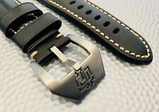 22mm Panerai BLACK Strap Italian Tanned Vegetable Leather Watch Band Buckle