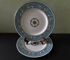 "2 Wedgwood Florentine Turquoise 10 3/4"" Dinner Plates"