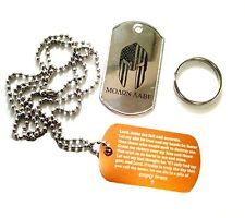 Engraved Military Dog Tags (2) with Don't Tread on Me, Molon Labe, & Prayer