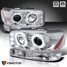 2000-2006 GMC Yukon XL Halo Projector Headlights+Parking Bumper Lamps Chrome