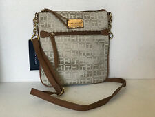 NEW! TOMMY HILFIGER KHAKI BROWN GOLD CROSSBODY SLING MESSENGER BAG $69 SALE