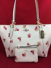 New COACH F55192 AVA Field Floral Canvas Tote Handbag Purse Shoulder Bag +Wallet
