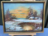 Oil painting on canvas winter scene by the lake signed Herb Parnall lot E201018D