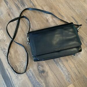 Vintage Buxton Black Leather Crossbody Bag fold out wallet Purse Hipster