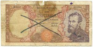 10000 LIRE FALSO D'EPOCA BANCA D'ITALIA MICHELANGELO MEDUSA 27/11/1973 MB