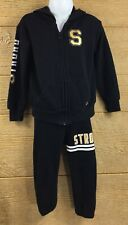 Xersion Girls Size 3T Sweat Suit Pants Hoodie Set Black Gold Strong Like A Girl