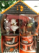 MERI MERI HALLOWEEN Cupcake Kit 24 Cases and Toppers Ghost Witch Skeleton Bat