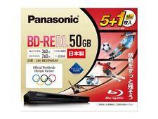 6 Panasonic Bluray Discs 50 GB BD-RE Rewritable 2X Factory Sealed F/S w/Track#