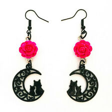 Black Moon Earrings, Rose Earrings, Cat Crescent,  Witchy Earrings