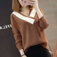 Autumn Winter Womens Long Sleeve Loose V Neck Pullover Knit Sweater Top Knitwear