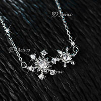 18K WHITE GOLD GF MADE WITH SWAROVSKI CRYSTAL PENDANT SNOWFLAKE NECKLACE