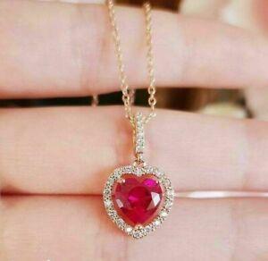 1.25ct Heart Ruby & Sim Diamond Halo Ladies Chain Pendant VALENTINE Gift Silver