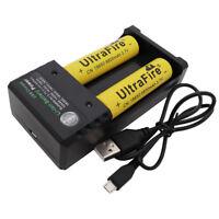 2X 18650 9800mAh Battery 3.7V Li-ion Flat Top Rechargeable Batteries+USB Charger