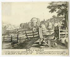 Rare Antique Print-LANDSCAPE-TRAVELLERS-PEDLAR-Anonymous-c. 1720